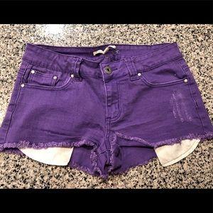 Forever 21 Bright Violet Denim Shorts
